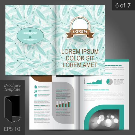 brochure template: Vector floral brochure template design with blue leaves