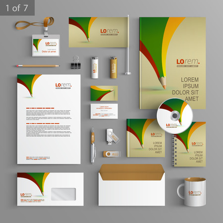 documentation: Creative stationery template design with color pencil. Documentation for business.