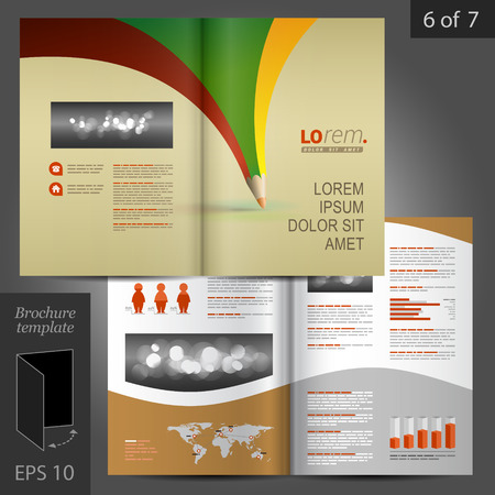 brochure cover: Creative vector brochure template design with color pencil Illustration
