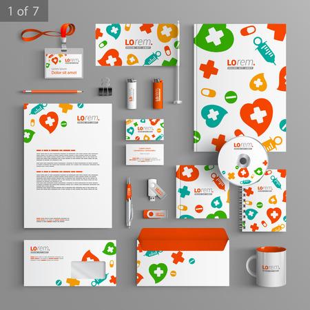 chăm sóc sức khỏe: Trắng thiết kế văn phòng phẩm mẫu với màu sắc yếu tố y tế. Tài liệu cho doanh nghiệp.