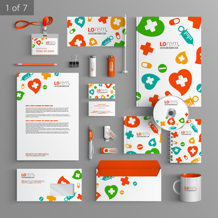pharmacy pills: White stationery template design with color medical elements. Documentation for business.