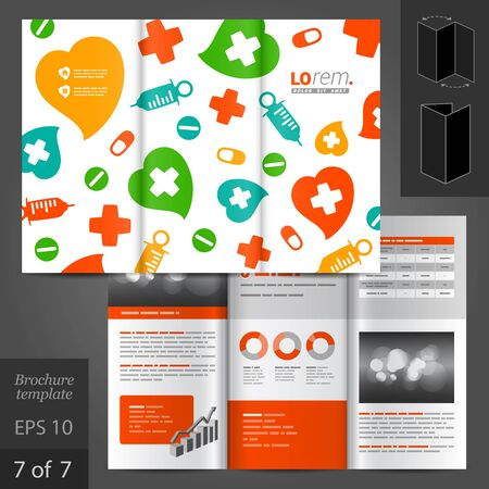 vector medical: White vector brochure template design with color medical elements