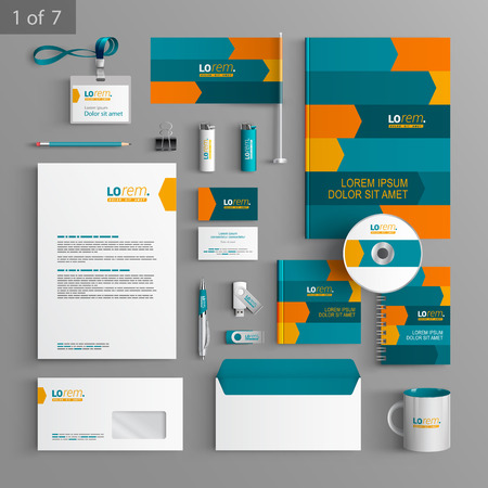 Dynamic stationery template design with orange and blue arrows. Documentation for business.
