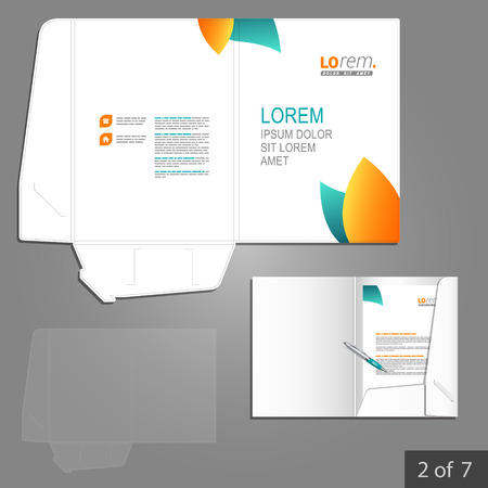 folder: Clean floral folder template design for company with blue and orange leaves. Element of stationery. Illustration
