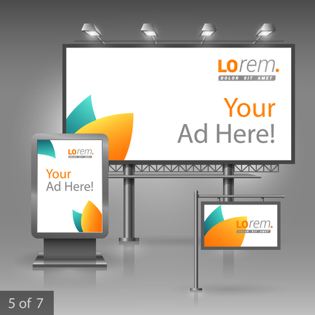 plant stand: Clean floral outdoor advertising design for company with blue and orange leaves. Elements of stationery.