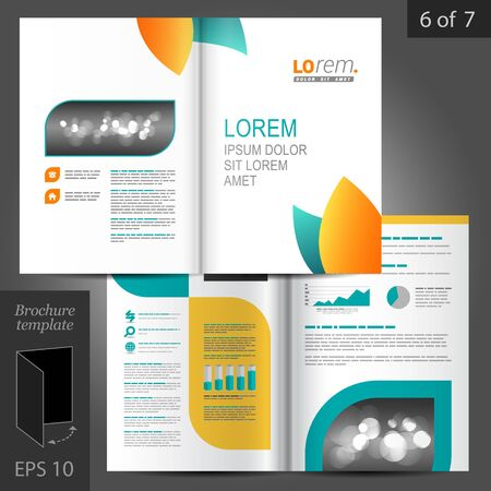 brochure template: Clean floral vector brochure template design with blue and orange leaves Illustration