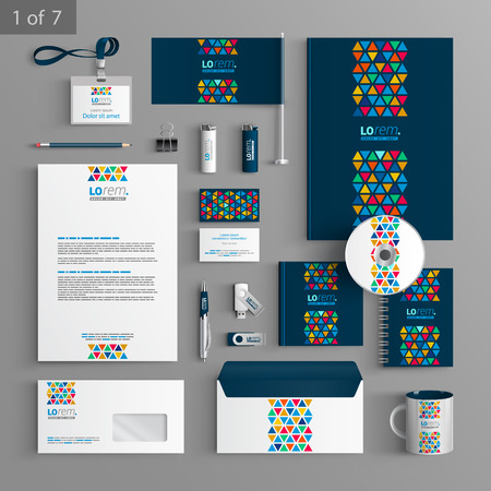 stationary set: Blue creative stationery template design with color triangles similar to stained glass. Documentation for business.