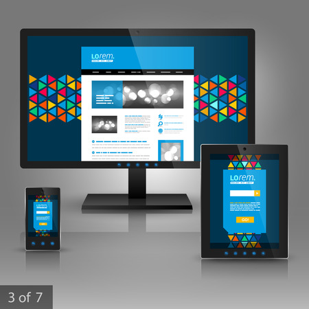 blue design: Blue creative application template design for gadgets with color triangles similar to stained glass. Elements of stationery.