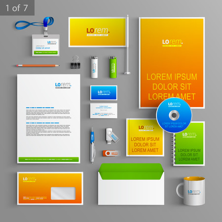 documentation: Creative stationery template design with color elements. Documentation for business.
