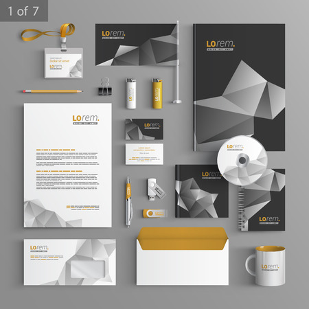 stationery: Black stationery template design with origami elements. Documentation for business. Illustration