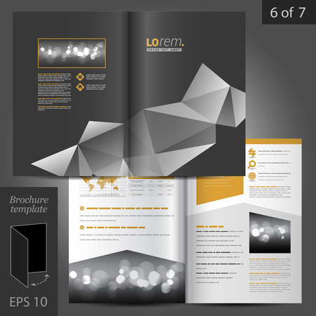 connection block: Black vector brochure template design with origami elements Illustration