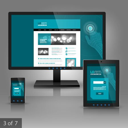 communicatio: Blue application template design for gadgets. Digital hand touching screen. Elements of stationery.
