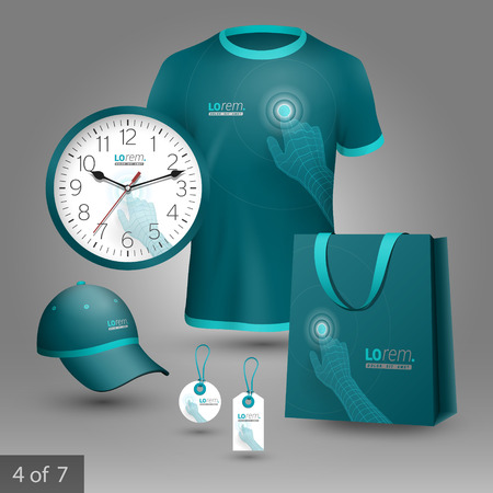 Blue promotional souvenirs design for company. Digital hand touching screen. Elements of stationery. Illustration