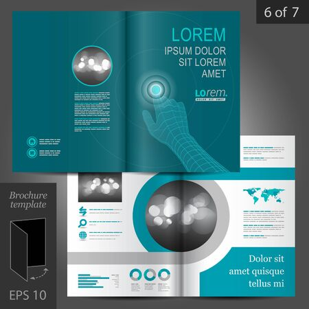 Blue vector brochure template design. Digital hand touching screen Illustration