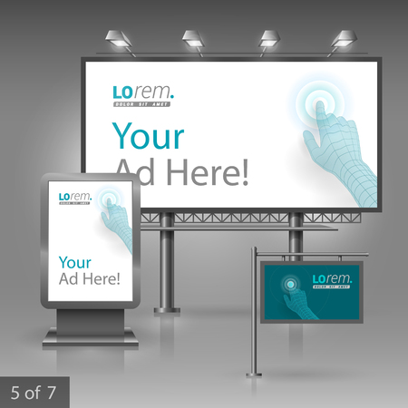 touchpad: Blue outdoor advertising design for company. Digital hand touching screen. Elements of stationery. Illustration