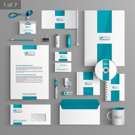 papírnictví: Bílý design papírnictví šablony s modrým centrálním prvkem. Dokumentace pro podnikání.