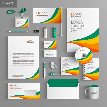 documentation: White stationery template design with color lines. Documentation for business.