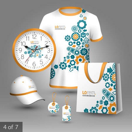 rackwheel: White promotional souvenirs design for company with blue cogwheels and details of mechanism. Elements of stationery. Illustration