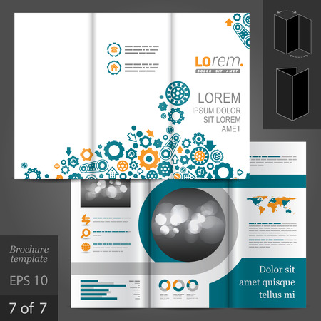 White vector brochure template design with blue cogwheels and details of mechanism Illustration
