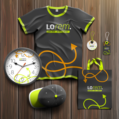 souvenirs: Black promotional souvenirs design for corporate identity with green and orange arrows. Stationery set