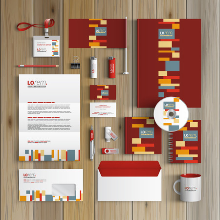Red corporate identity template design with color square elements. Business stationery Ilustrace