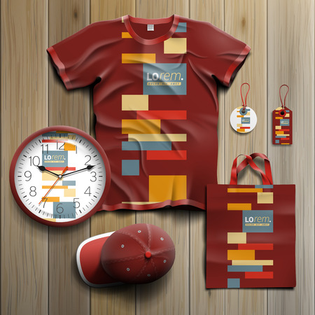 souvenirs: Red promotional souvenirs design for corporate identity with color square elements. Stationery set Illustration