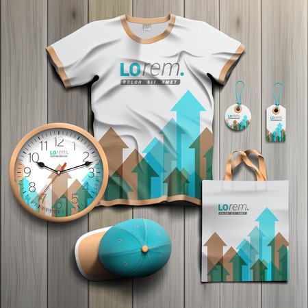 souvenirs: White promotional souvenirs design for corporate identity with blue and brown arrows. Stationery set Illustration