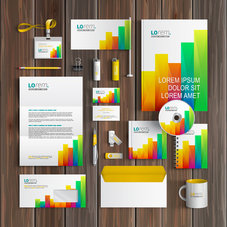 corporate finance: White corporate identity template design with color square elements of chart. Business stationery Illustration