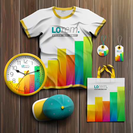 souvenirs: White promotional souvenirs design for corporate identity with color square elements of chart. Stationery set