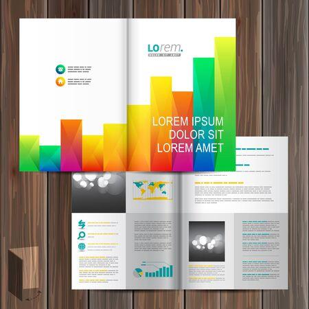 estadistica: Diseño de folleto plantilla blanca con elementos de color cuadrados de gráfico. Diseño de la cubierta Vectores