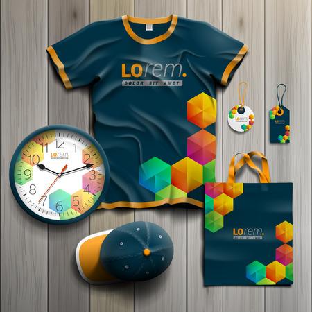 uniform: Diseño creativo azul recuerdos de promoción de la identidad corporativa con cubos de colores. Conjunto del papel