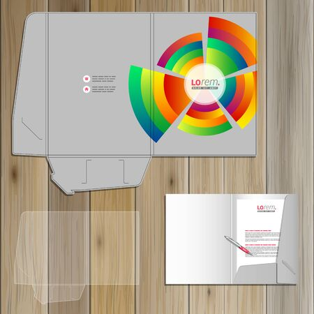 adverts: Gray folder template design for corporate identity with color round elements. Stationery set Illustration