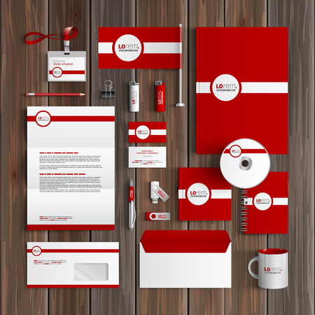 stationary: Red classic corporate identity template design with white line. Business stationery