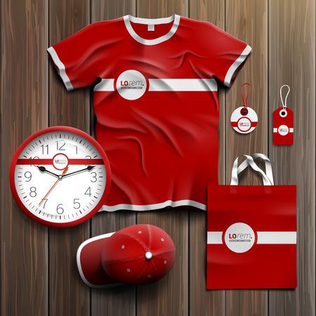Diseño clásico rojo recuerdos de promoción de la identidad corporativa con la línea blanca. Conjunto del papel