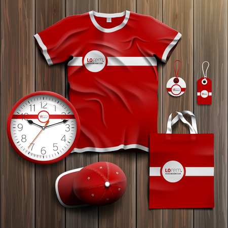 Red classic promotional souvenirs design for corporate identity with white line. Stationery set