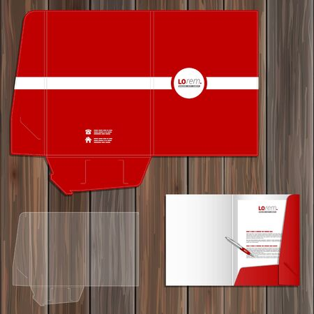 folder: Red classic folder template design for corporate identity with white line. Stationery set Illustration