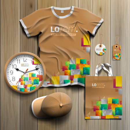 souvenirs: Creative promotional souvenirs design for corporate identity with color shapes and elements. Stationery set