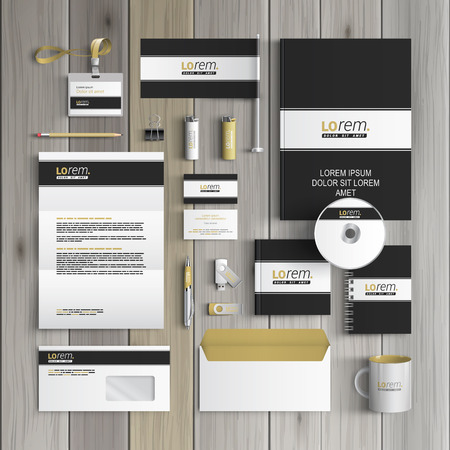 Black classic corporate identity template design with white line. Business stationery Banco de Imagens - 41426980