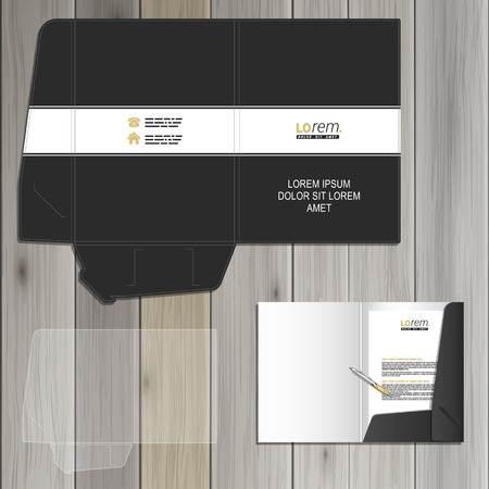 folder: Black classic folder template design for corporate identity with white line. Stationery set