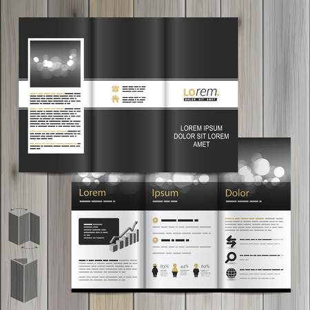 flyer template: Black classic brochure template design with white line. Cover layout