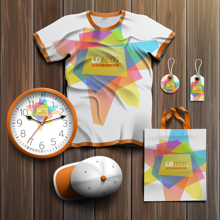 souvenirs: White creative promotional souvenirs design for corporate identity with art color elements. Stationery set Illustration