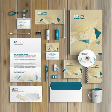brand: Drawing corporate identity template design with figures and schemes. Business stationery