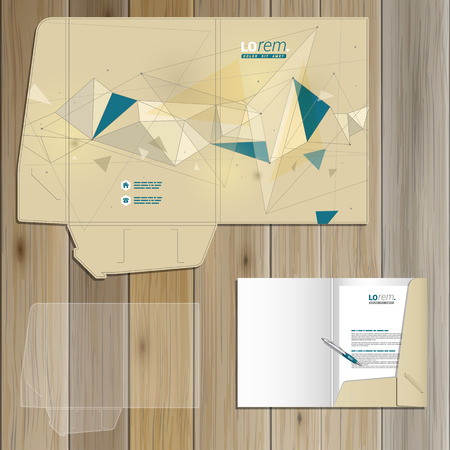 schemes: Drawing folder template design for corporate identity with figures and schemes. Stationery set Illustration