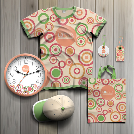 tshirts: Vintage promotional souvenirs design for corporate identity with round color elements. Stationery set