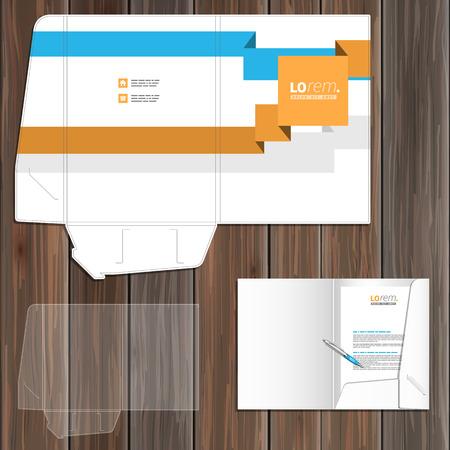 folder: White folder template design for corporate identity with blue and orange geometric lines. Stationery set Illustration