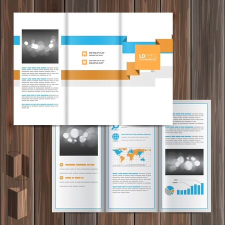 geometric lines: White brochure template design with blue and orange geometric lines. Cover layout Illustration