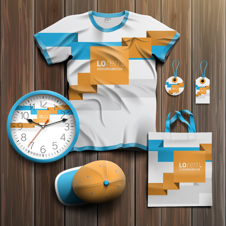 souvenirs: White promotional souvenirs design for corporate identity with blue and orange geometric lines. Stationery set