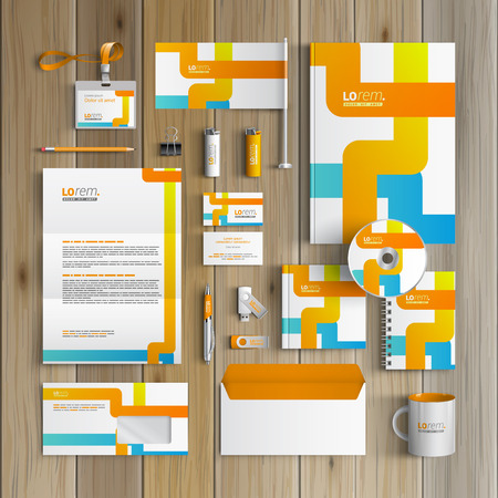 blue design: White creative corporate identity template design with blue and orange art elements. Business stationery