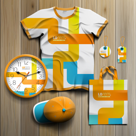 art product: White creative promotional souvenirs design for corporate identity with blue and orange art elements. Stationery set Illustration