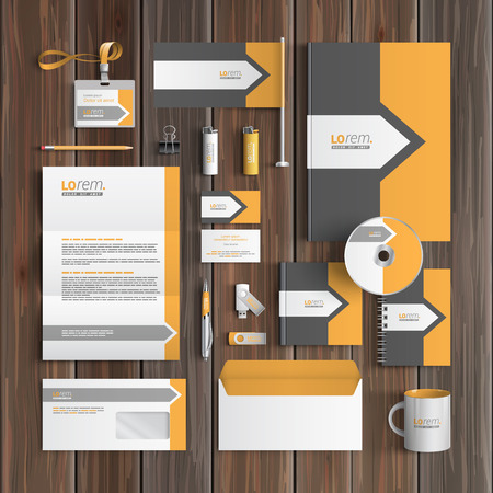 Classic gray corporate identity template design with arrow and orange element. Business stationery Illustration